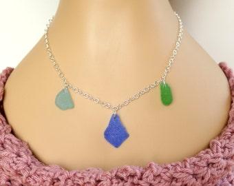 Multicolor Sea Glass Necklace, Natural Sea Glass Necklace, Sterling Silver Necklace, Sea Glass Jewelry, Natural Beach Glass Necklace