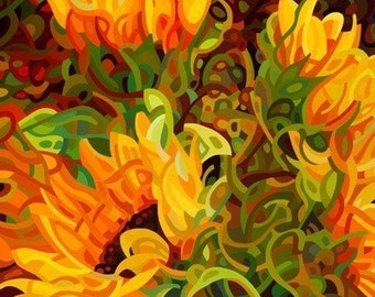 Fine Art Poster Print of an Original Abstract Acrylic Painting - Four Sunflowers