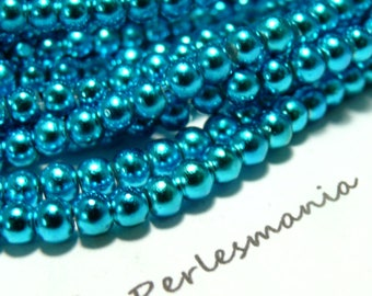 TOP price 100 Blue Pearl glass beads (wire)