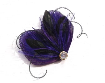DREAM in Dark Purple and Black Peacock Feather Hair Clip, Feather Fascinator