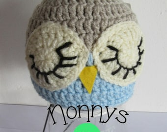 Crochet Owl Hat, size 6-12 months, Ready to Post