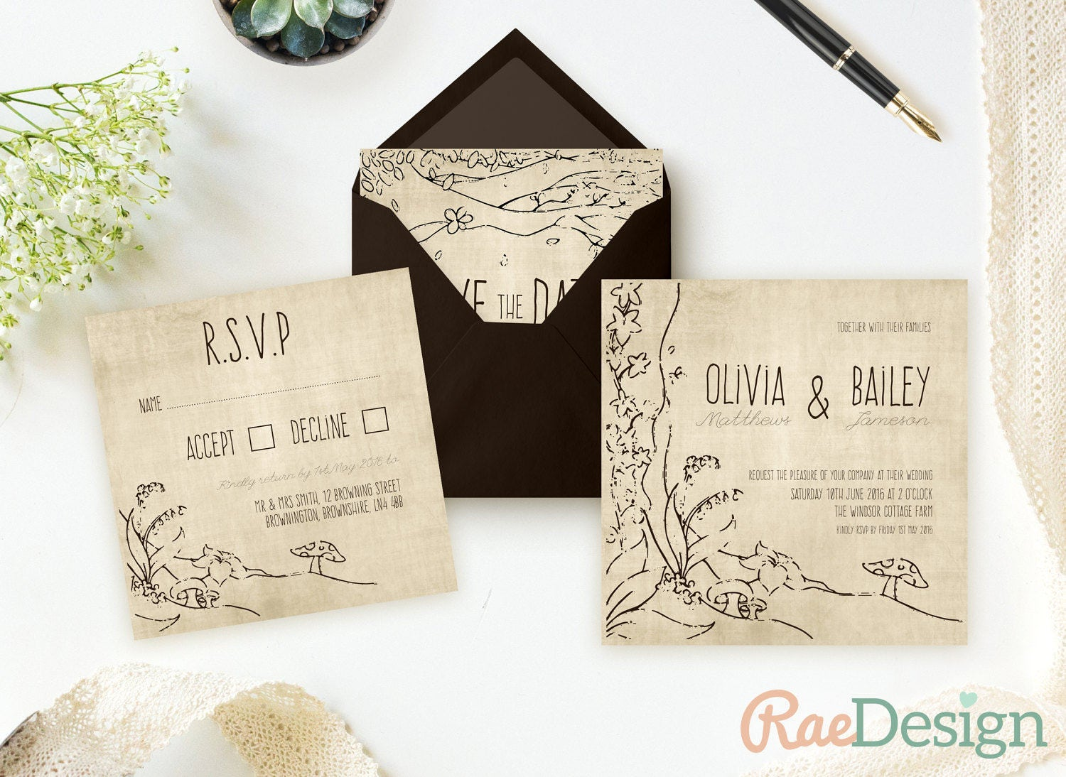 Fairy Tale Wedding Invitation Enchanted Forest Invite