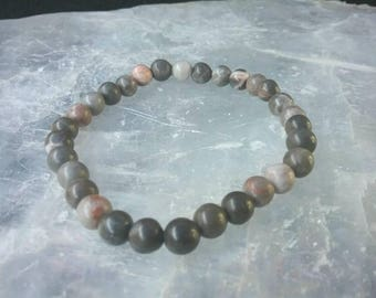 Rhodonite 6mm beaded Gemstone Bracelet. Grace and Elegance