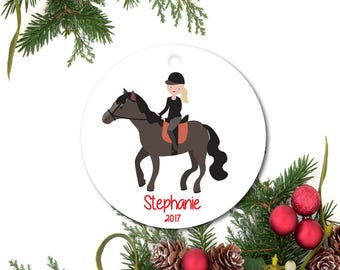 Equestrian Ornament, Horse Ornament, Personalized Christmas Ornament, Little Girl Ornament, Ceramic Horse Ornament, Horseback Riding Gift