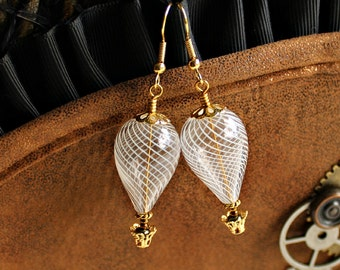 Gold & White Hot Air Balloon Earrings - blown glass beads with gold filigree baskets and bead caps  - Wedding Earrings - Balloon Wedding