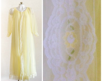 1960s yellow chiffon peignoir nightgown and robe with lace trim