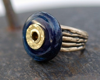 Bronze Ring, Boro Lampwork, Glass Beaded, Jewelry, Navy Blue, Deep Midnight