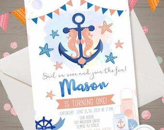 ANCHOR Birthday Invitation Boy NAUTICAL Birthday Invitation 1st Birthday Invite Under th Sea Party Navy Party Watercolor Seahorse Invitation