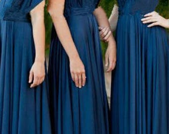 Bridesmaids dress in prussian indigo blue color floor length dress with matching tube top