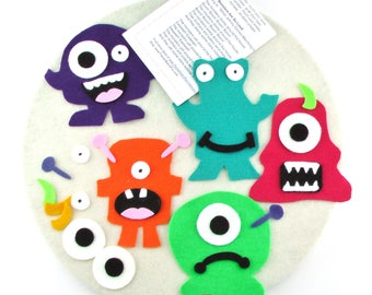 Handmade Monster Felt Board Quiet Activity Toy for Toddlers Preschool Kid Felt Busy Board Montessori Waldorf Toddler Gift Busy Book Busy Bag