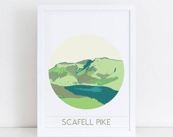 Lake District Mountain Art   Scafell Pike Print   Outdoor Adventure   Mountain Print   UK mountains
