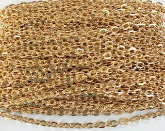 15ft of Gold plated  flat cable chain 2X3mm unsoldered, gold chain