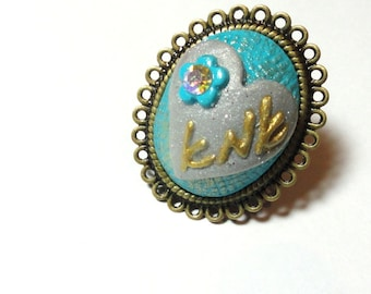 Jewelry Adjustable turquoise mothers day ring handmade of polymer clay by artefyk