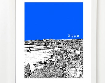 Nice, France Art Print -Nice City Skyline Poster - Nice - Mediterranean Sea