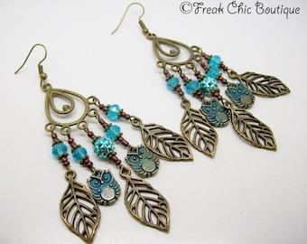 Owl Earrings, Crystal Earrings, Antique Bronze, Bohemian, Statement Earrings, Boho Earrings