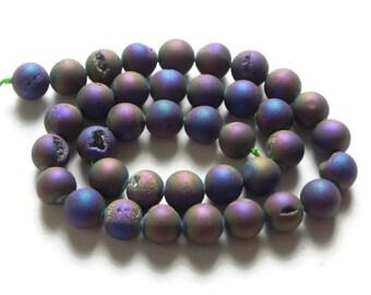 Rainbow Titanium Druzy gemstone beads, 9 pieces  Rainbow Titanium druzy stones, titanium druzy beads, rustic druzy beads