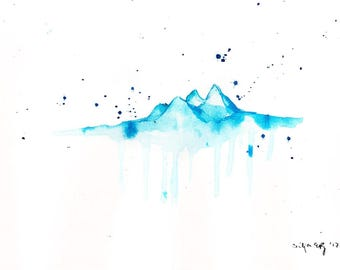 watercolor painting - 8x12in 20x30cm  - abstract landscape - mountains