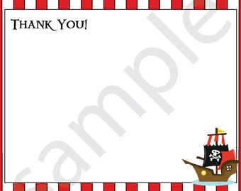 PRINTED Red & White Pirate Stripe Thank You with Boat