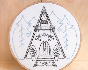 Modern Hand Embroidery Patterns, Alpine Ski Lodge Inspired Patterns SNOWFLAKE CHALET, Holiday Embroidery Pattern  Instant Download