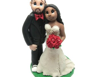 Custom cake topper, Interractial wedding cake topper, Bride and Groom cake topper, Mr and Mrs cake topper, personalized cake topper