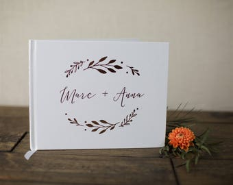 Gold Foil Wedding Guestbook. Custom Wedding Book. Gold Foil Landscape Wedding Guest book. Rose Gold Foil Wedding Book. Guest Book Custom
