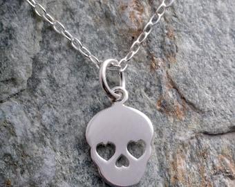Sterling silver skull sugar skull necklace 925