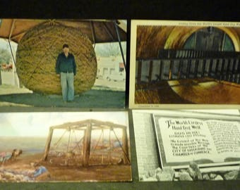 4 Kansas Linen Postcards - World's Largest Hand Dug Well and 11 ft Wide Ball of Twine