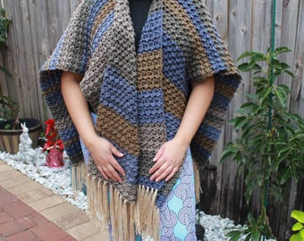 Women Crochet Cardigan, Poncho Ruana Style for Women Loose One Size Fits SMALL - XL
