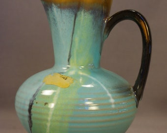 "Carstens Tonnieshof-W Germany 5"" Gold-Accented Pale Blue-Green Pitcher #462 – MCM Rare/Mint"