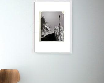 Bird and Mountains- Modern minimalist art print, nature print, glicee art print, black white grey, ooak minimalist print by Cristina Ripper