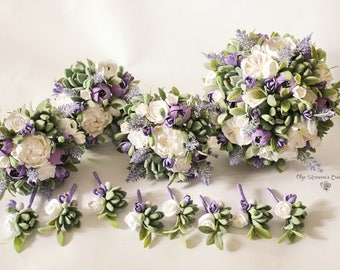 White purple lavender wedding Set Clay wedding bouquet Clay wedding flowers Keepsake succulent bouquet Succulent boutonniere