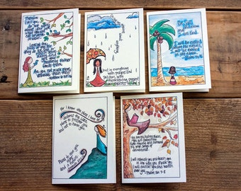 Scripture Cards - Peace, Set 2 - Illustrated Bible Verse, Philippians 4 6, Scripture Notecards, Scripture Gifts - Assorted Set of 5