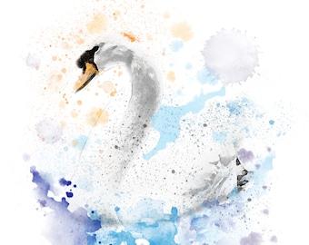 Watercolour Swan Print 11 x 14