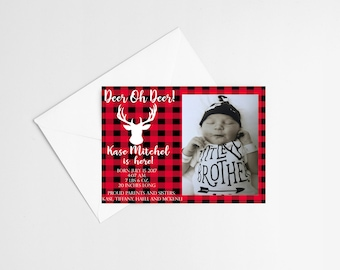 Deer-Lumberjack Baby Boy Birth Announcement