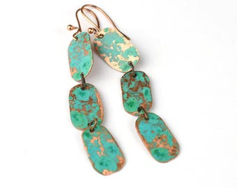 Hammered copper earrings with aqua patina