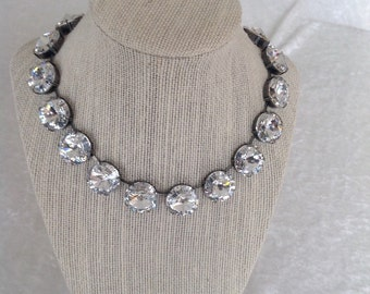 18mm swarovski crystal necklace, crystal clear, swarovski necklace- large crystals- bridal necklace- wedding jewelry- bridesmaids