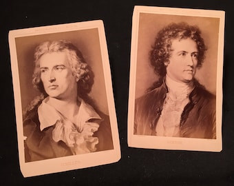 German Authors - Pair of Antique Cabinet Cards of Schiller and Goethe, 19th Century Cabinet Cards