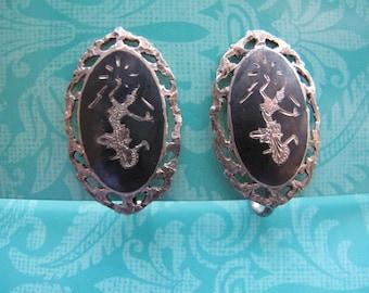Siam Screw Back Silver Earrings