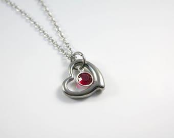 July Birthstone Necklace - July Necklace - Heart - Red Birthstone Necklace - July Birthday - Ruby Red Birthstone Necklace - Crystal