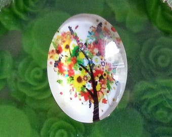 1 cabochon tree of life glass oval cabochons with flat back decorations ornaments, colorful, 25 x 18 x 6 mm