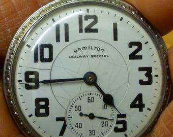 I27 1949 Hamilton Railway Special Pocket Watch, Size 16, 21 J, Grade 992B, Works.