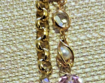"""Tricia""""s """"One of a Kind"""" pair of earrings, 14k gold plated hooks, Swarovski crystals,faux pearls,2 1/2""""drop."""
