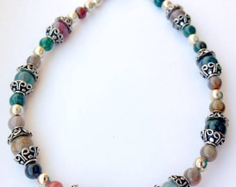 Fancy Jasper and Sterling Silver Bracelet
