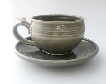 Made to Order:  Large Handmade Pottery Latte Mug and Saucer With a Peaceful White Bird