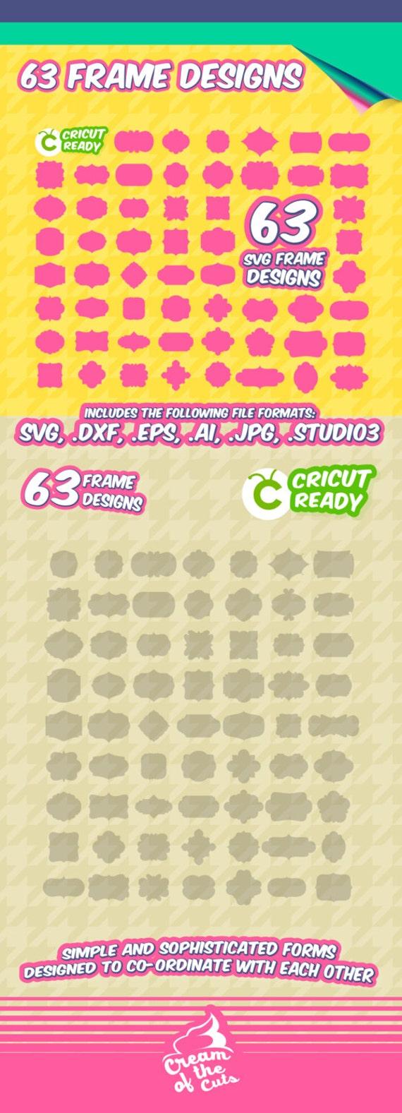 63 Marcos svg cuadros del monograma serigrafía SVG DXF