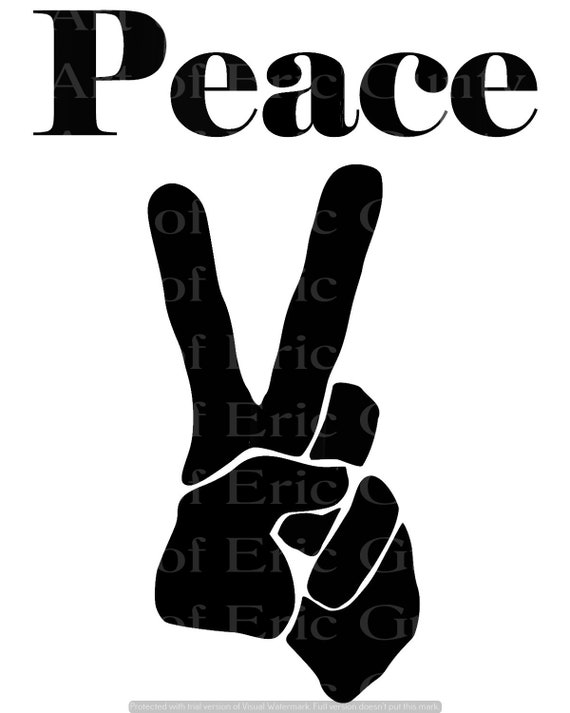 Black Peace Sign Hippie Birthday - Edible Cake and Cupcake Topper For Birthday's and Parties! - D24130