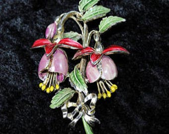 1950s Exquisite Dramatic Double Fuchsia Brooch