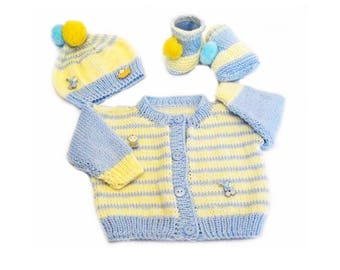 Knit Baby Striped Set - Cardigan, Hat and Booties - 0 - 3 months - Baby Shower Gift - Blue & Yellow Color - Newborn Baby Set