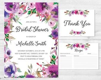 Bridal Shower Invitation, Bridal Shower Invite, Thank You Cards,  Recipe Card, Floral Bridal Shower Invitation, Watercolor, Boho