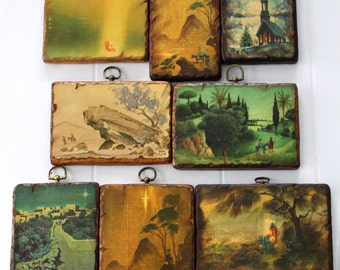 8 Vintage Religious Prints Mounted to Wood Plaques